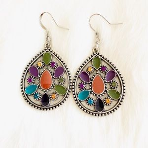 Boho earrings in colorful teardrop style